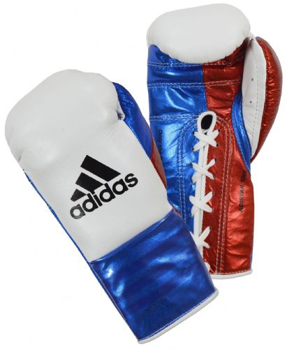 Adidas Adistar Pro Boxing Gloves - White/Blue/Red